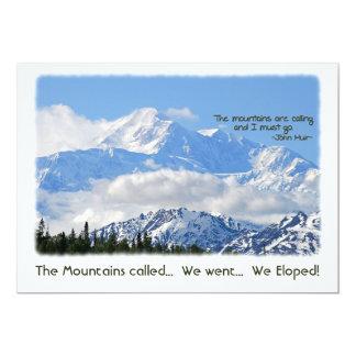 "Denali: ¡Mtns llamó - Eloped! Invitación 5"" X 7"""