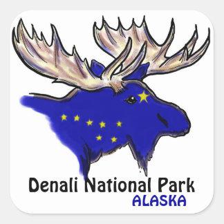 Denali National Park Alaska blue elk flag stickers