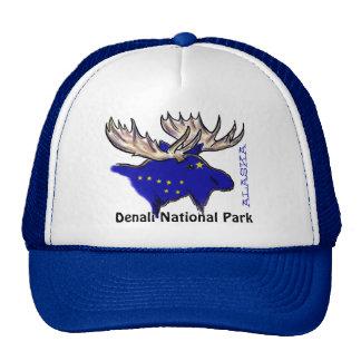 Denali National Park Alaska flag elk blue hat