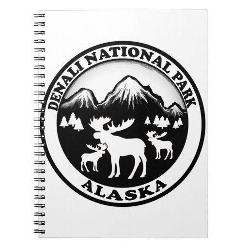 Denali National Park Alaska moose circle Spiral Notebook