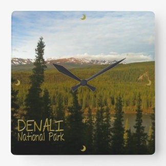 Denali National Park in Alaska Landscape Square Wall Clock