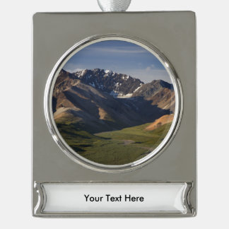 Denali National Park Silver Plated Banner Ornament
