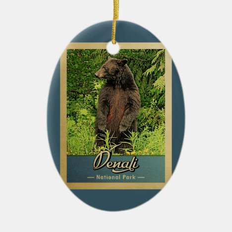 Denali National Park Vintage Bear Ceramic Ornament