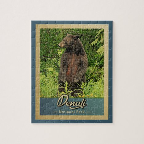 Denali National Park Vintage Bear Jigsaw Puzzle