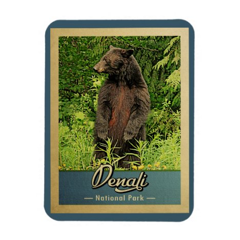 Denali National Park Vintage Bear Magnet