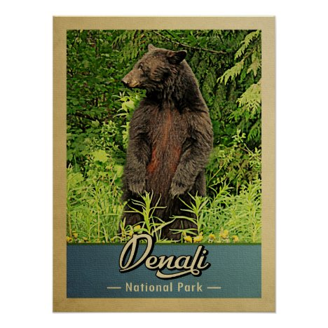 Denali National Park Vintage Bear Poster