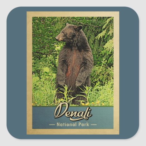 Denali National Park Vintage Bear Square Sticker