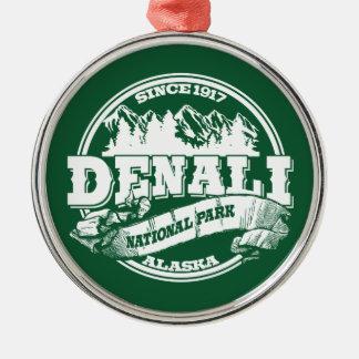 Denali Old Circle Green Round Metal Christmas Ornament