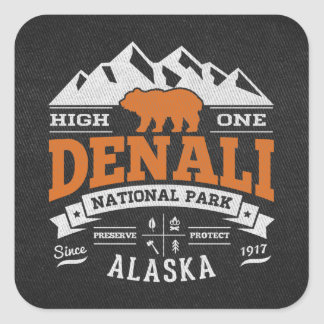 Denali Vintage Orange Square Sticker