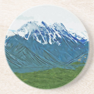 Denali With Rivers Alaska Abstract Impressionism Drink Coaster