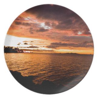 Denaru Island Sunset, Fiji Melamine Plate