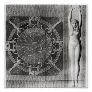 Dendera Zodiac, engraved in 1802 Poster