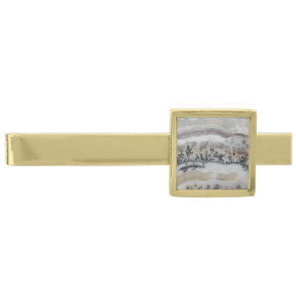 Dendritic Agate Pattern Gold Finish Tie Bar