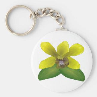 Dendrobium Orchid Basic Round Button Keychain