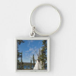 Dene Tribe gathering, Northwest Territories, Silver-Colored Square Keychain