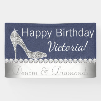 Denim and Diamond Birthday Party Banner