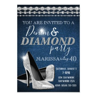 Denim and Diamond Birthday Party, elegant, heels Invitation