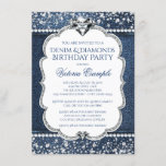 """Denim and Diamond Bling Birthday Party Invitations<br><div class=""""desc"""">Denim and diamonds birthday party invitations beautiful diamonds on a pretty denim and diamond background. You can easily customize these elegant flashy denim and diamond birthday party invitations for your event by simply adding your details in the font style of your choice. This is a printed design with no real...</div>"""