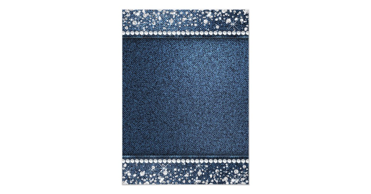 Denim Wedding Invitations: Denim And Diamond Bling Birthday Party Invitations