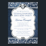 "Denim and Diamond Bling Birthday Party Invitations<br><div class=""desc"">Denim and diamonds birthday party invitations beautiful diamonds on a pretty denim and diamond background. You can easily customize these elegant flashy denim and diamond birthday party invitations for your event by simply adding your details in the font style of your choice. This is a printed design with no real...</div>"