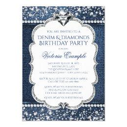 Denim and Diamond Bling Birthday Party Invitations