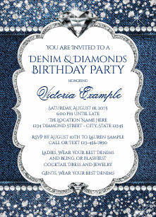 Denim And Diamonds Invitations Zazzle