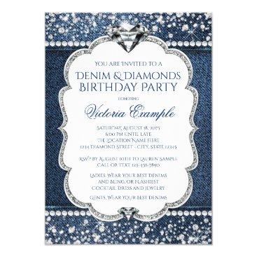 Champagne_N_Caviar Denim and Diamond Bling Birthday Party Invitations