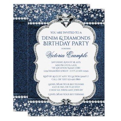 Denim And Diamond Bling Birthday Party Invitations Zazzle Com
