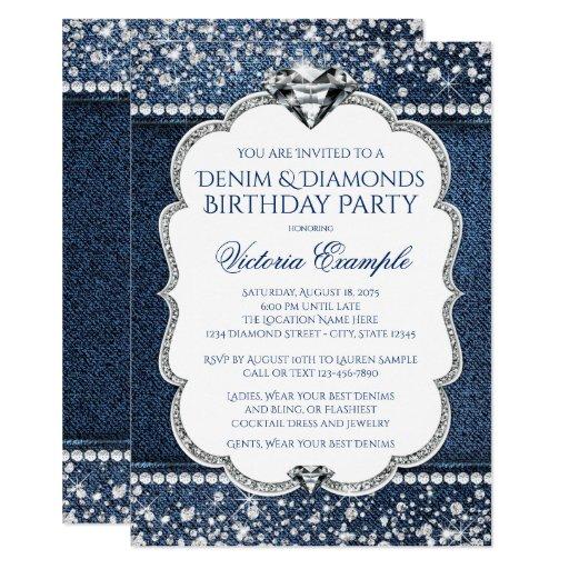 Denim and Diamond Bling Birthday Party Invitations   Zazzle