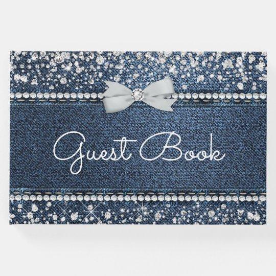Denim And Diamond Guest Book Zazzle Com