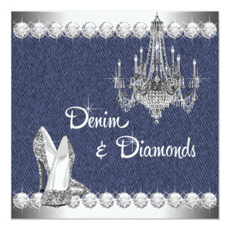 Denim and Diamonds Birthday Party Card
