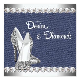 Denim and Diamonds Birthday Party Card