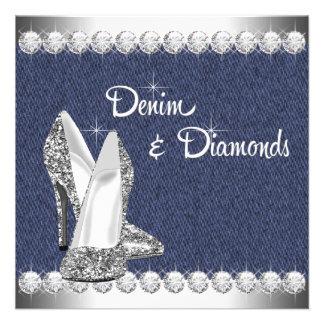 Denim and Diamonds Birthday Party Announcement