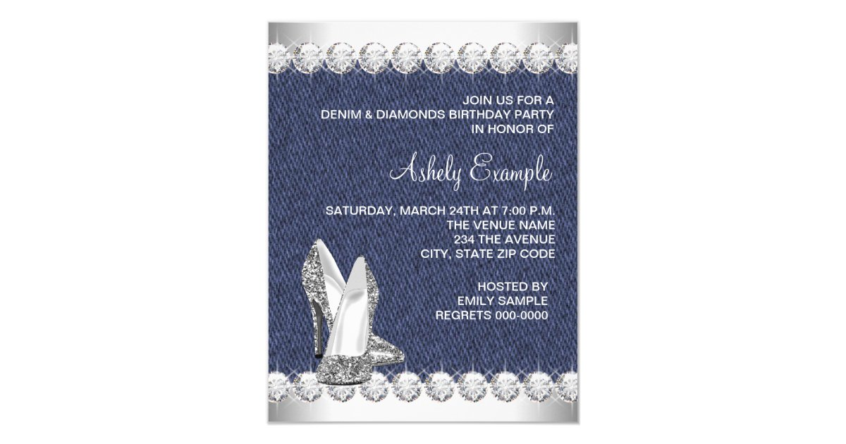 Denim Wedding Invitations: Denim And Diamonds Birthday Party Invitations