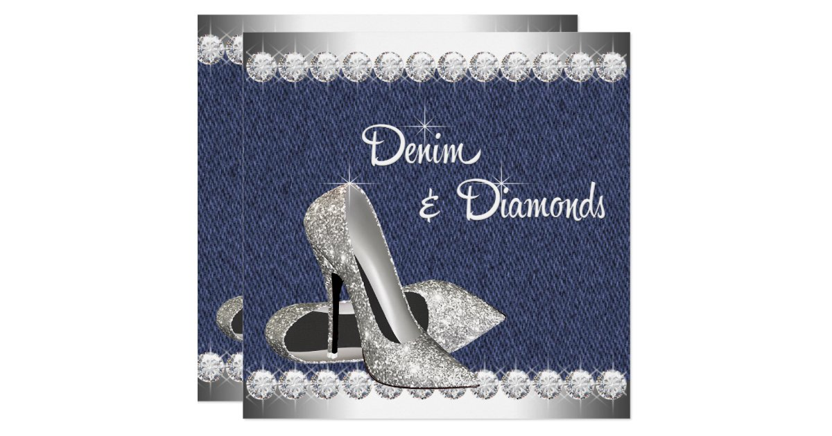 Denim And Diamonds Birthday Party Invitations Zazzle