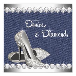 Denim And Diamonds Invitations Zazzle
