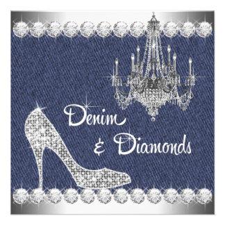 Denim and Diamonds Birthday Party Invitations