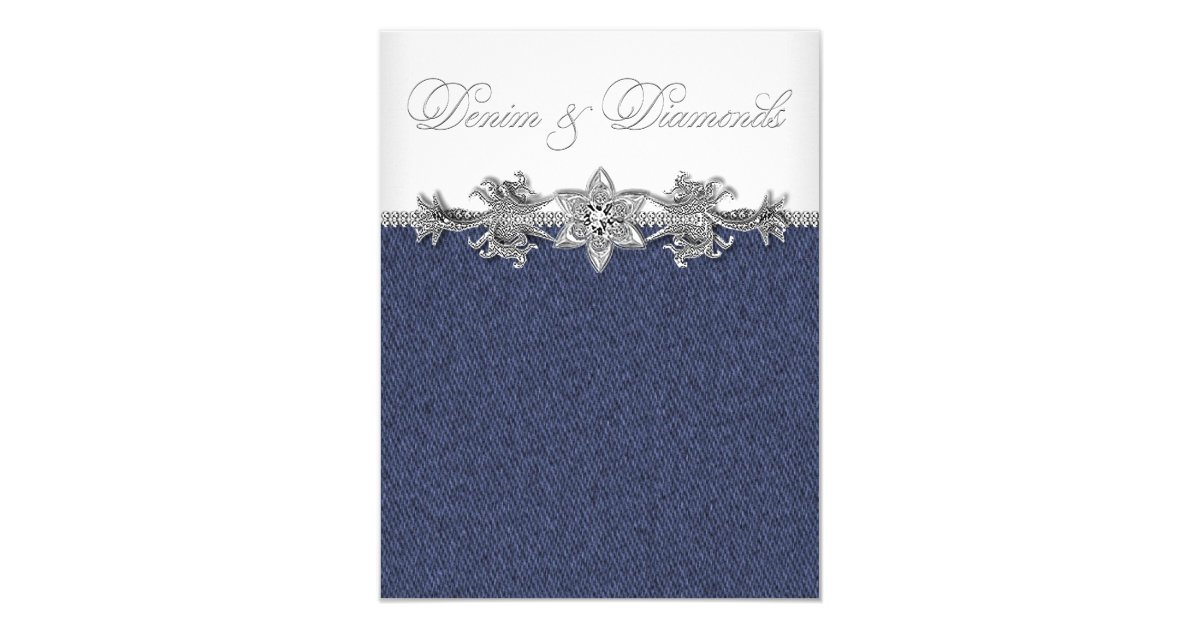 Denim Wedding Invitations: Denim And Diamonds Party Card