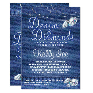 Denim And Diamonds Invitations Announcements Zazzle