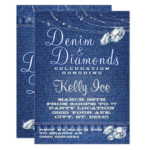 denim and diamonds party invitations zazzle