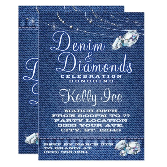 Denim And Diamonds Party Invitations Zazzle Com