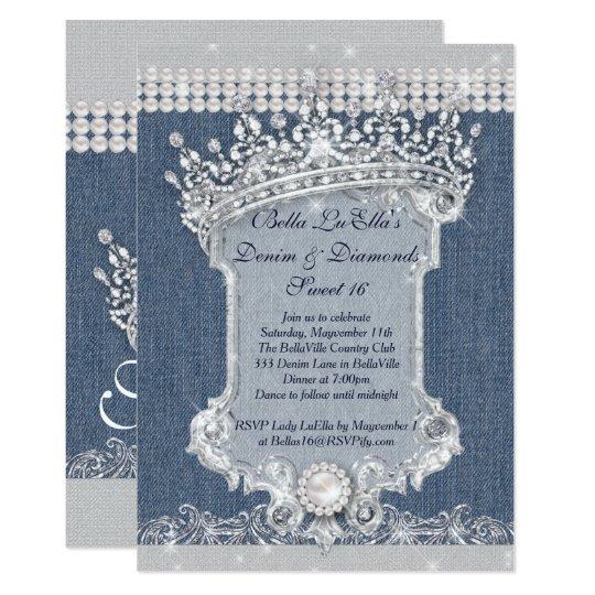 Denim invitations announcements zazzle denim and diamonds party invitations stopboris Images