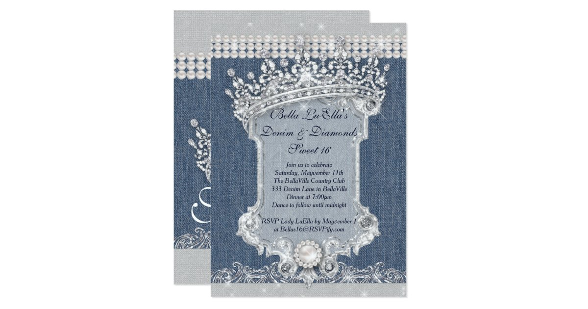 Denim Wedding Invitations: Denim And Diamonds Party Invitations