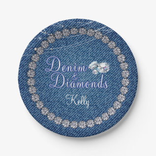 Denim And Diamonds Party  Plates at Zazzle