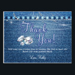 "Denim and Diamonds Thank You Cards<br><div class=""desc"">Denim and Diamonds Party Supplies and Decorations. Additional Denim and Diamonds Party Decor items available at Metro-Event.com and Metro-events on Zazzle</div>"