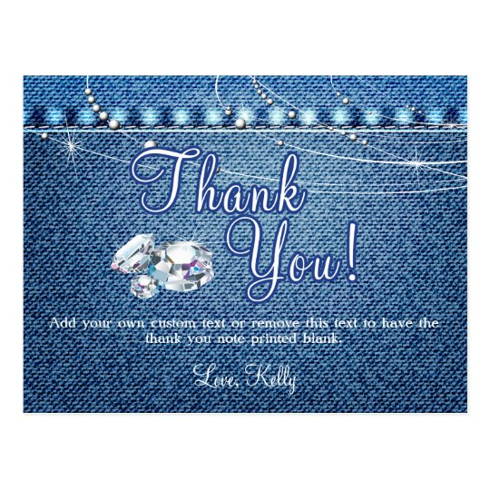 Denim And Diamonds Thank You Cards Zazzle Com