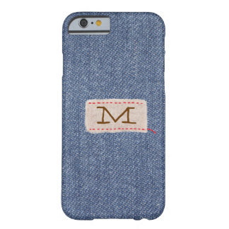 Denim and Fabric Tag Monogram Barely There iPhone 6 Case