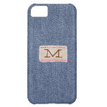 Denim and Fabric Tag Monogram Cover For iPhone 5C