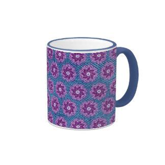 Denim and flower purple and blue mug