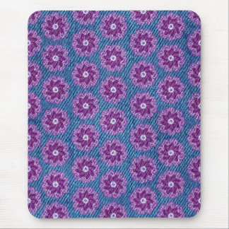 Denim and flowers pink and blue mousepad